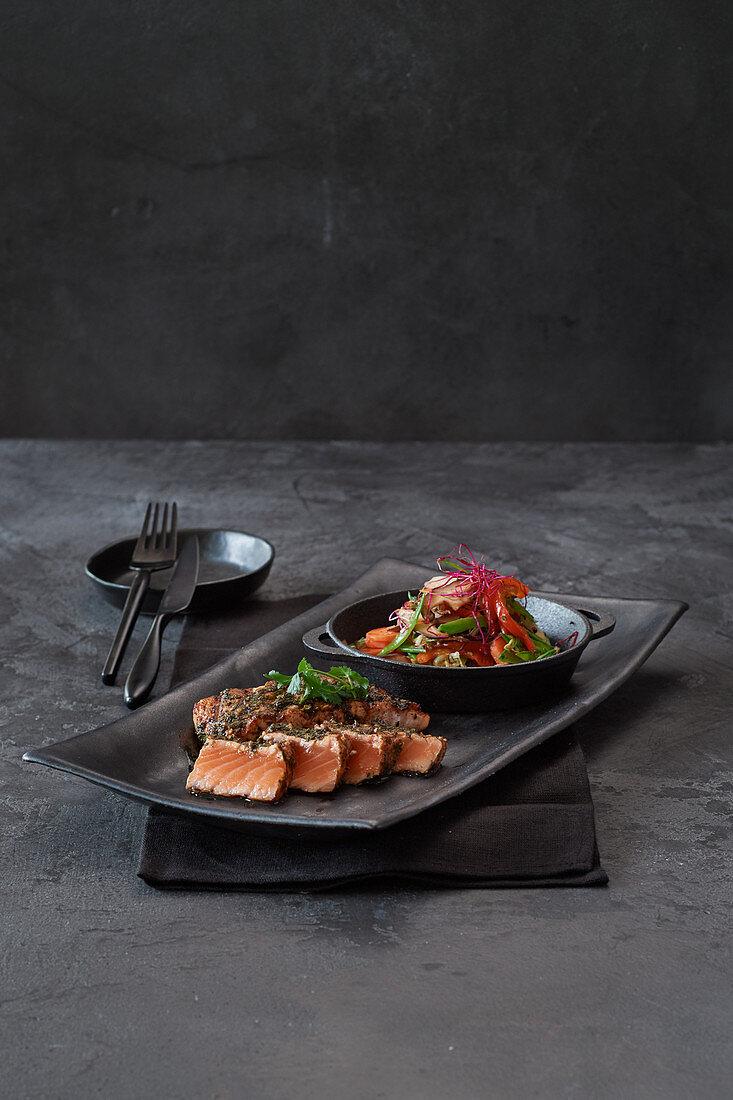 Grilled salmon pepper steak with stir-fried vegetables