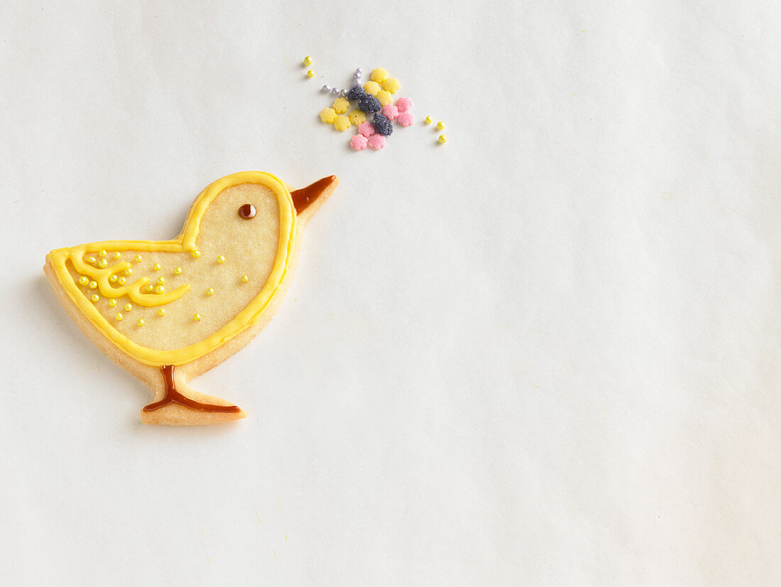 An Easter chick biscuit with a sugar butterfly
