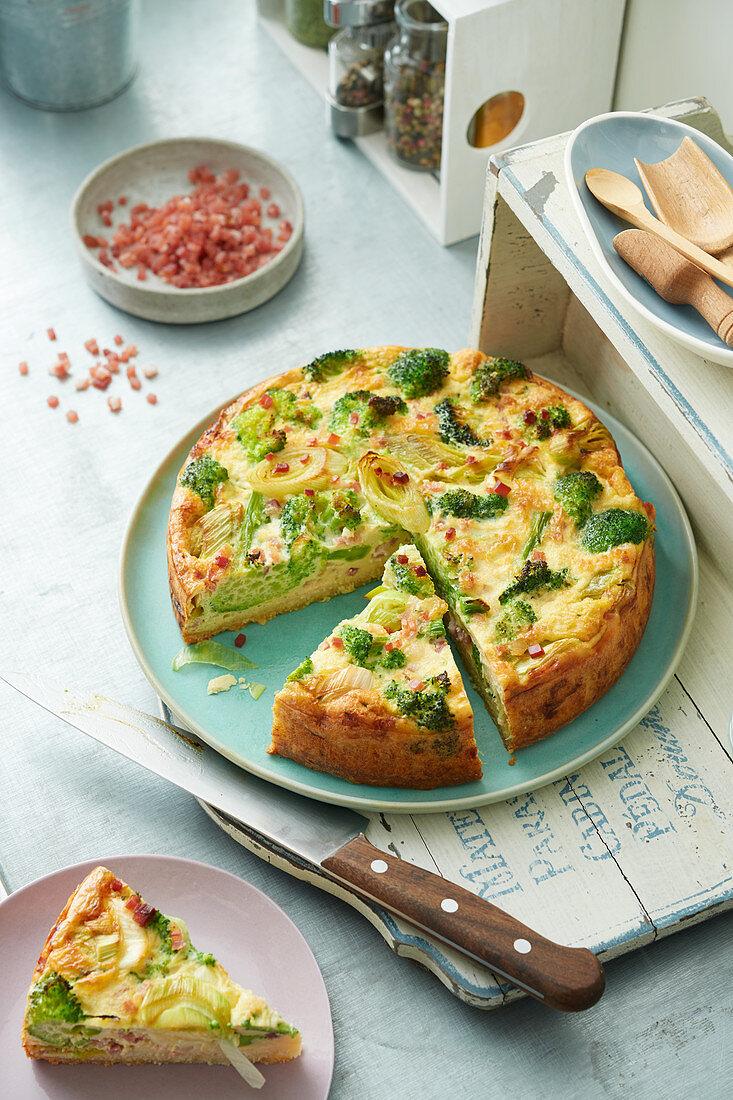 Broccoli and bacon quiche