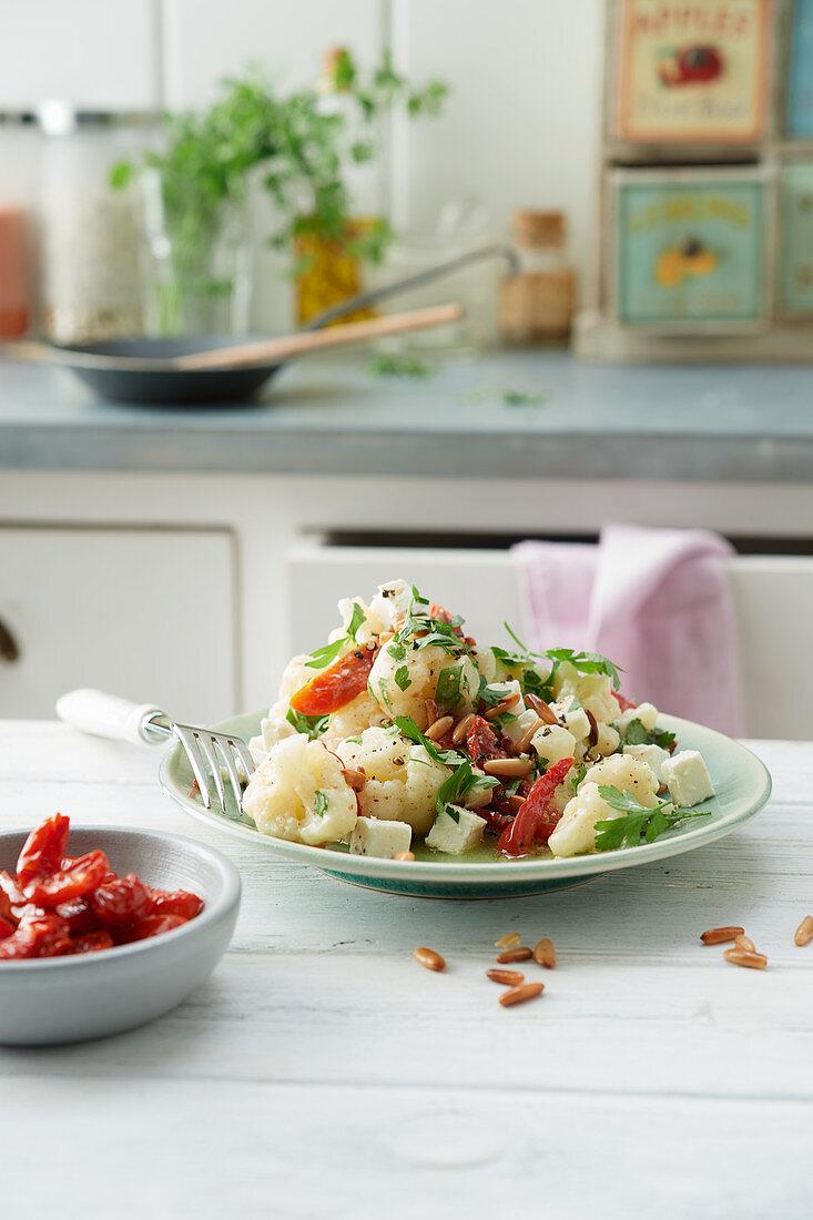 Mediterranean cauliflower salad with feta cheese