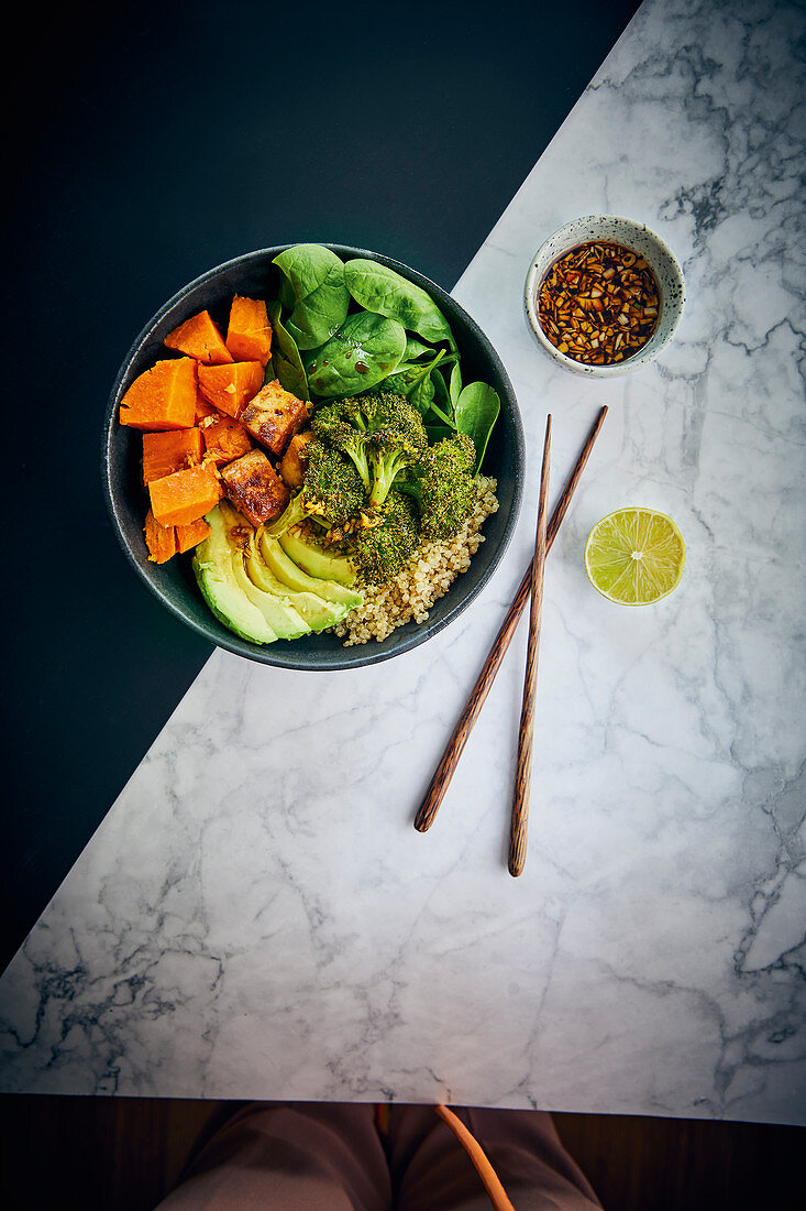 Vegan poke bowl with sticky tofu