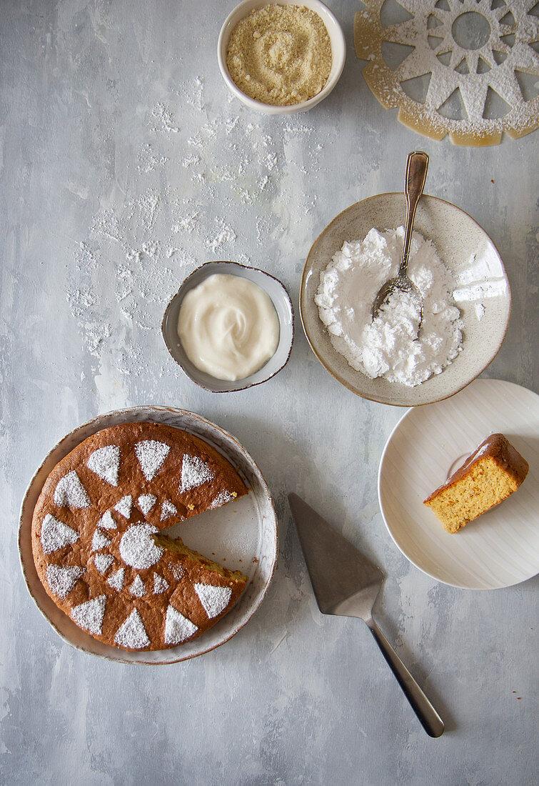 Simple almond yogurt cake