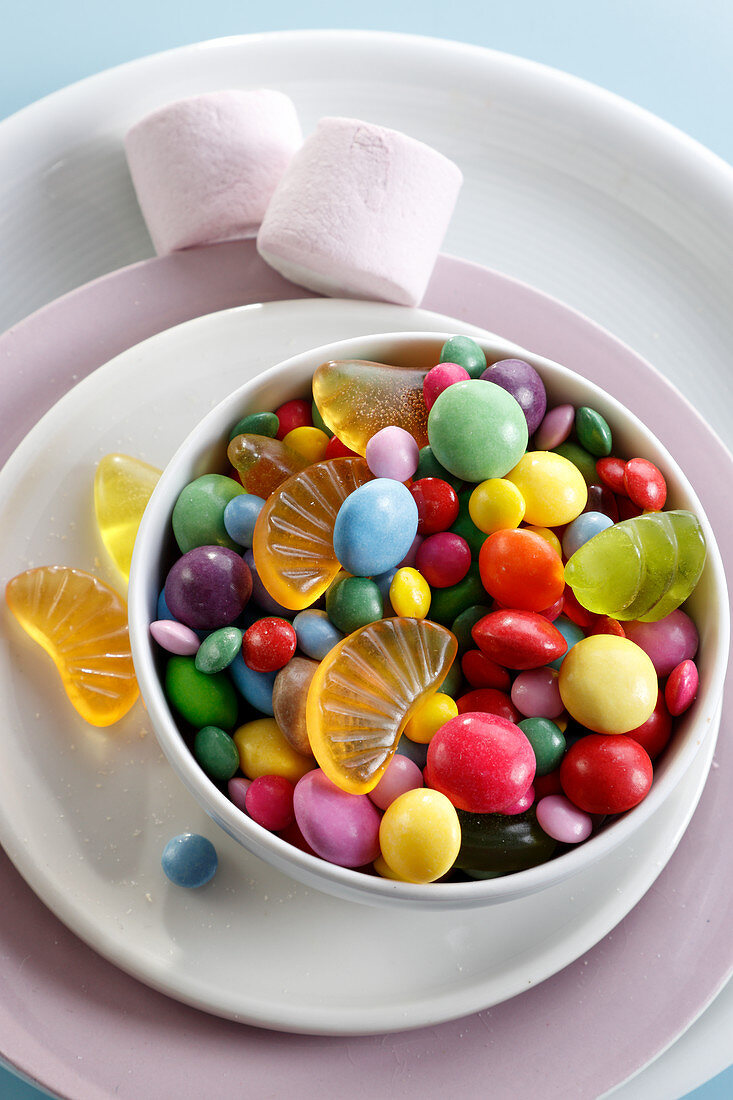 Colored dragees and jelly beans