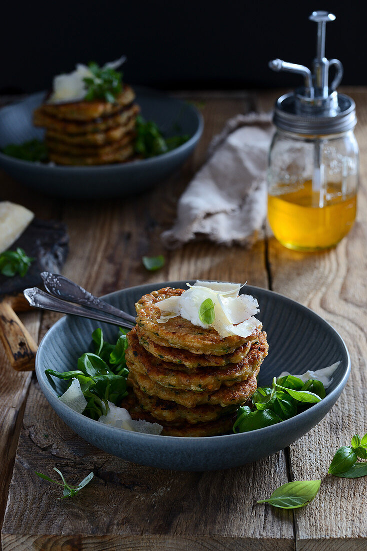 Zucchini pancakes with Parmesan cheese