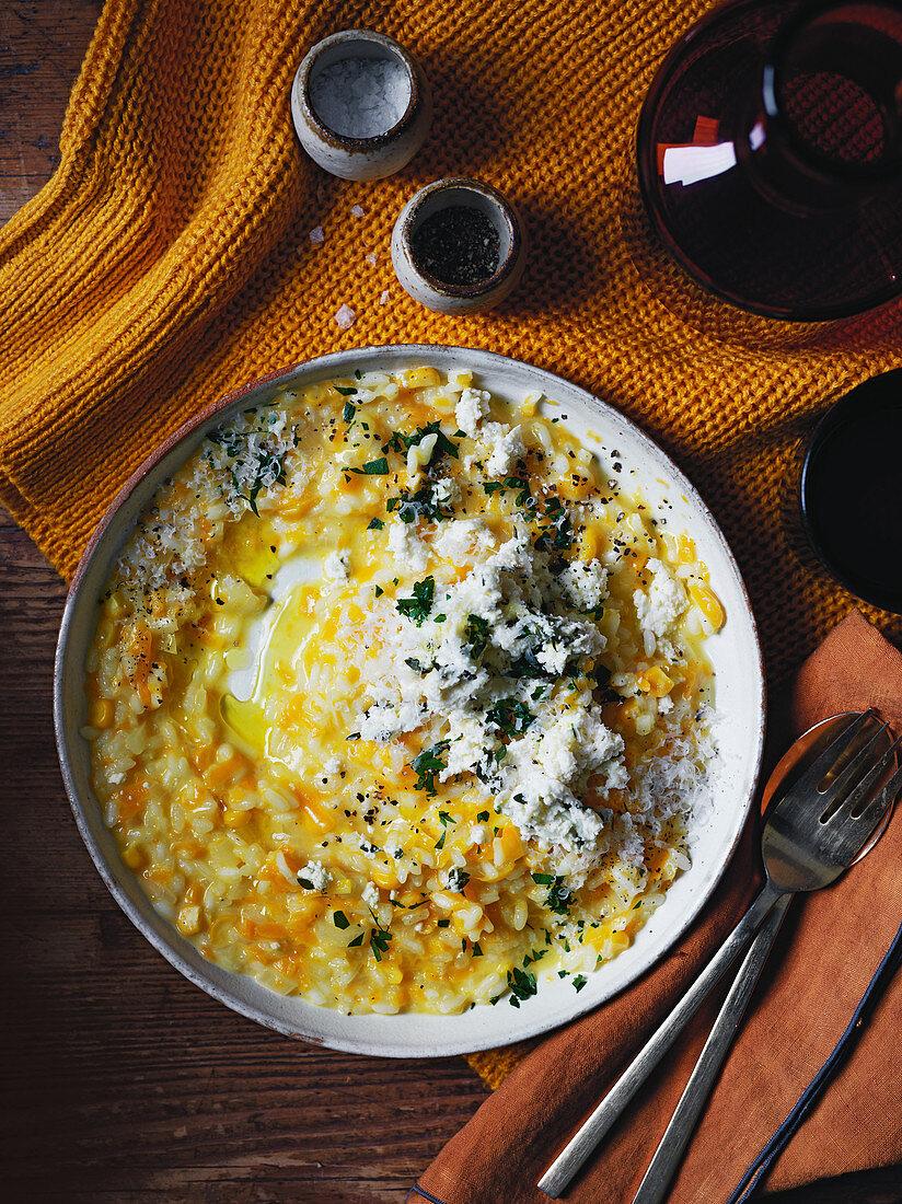 Pumpkin, corn and whey risotto