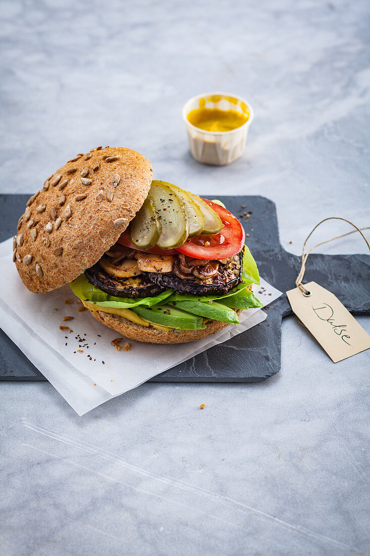 Aubergine and dulse burger