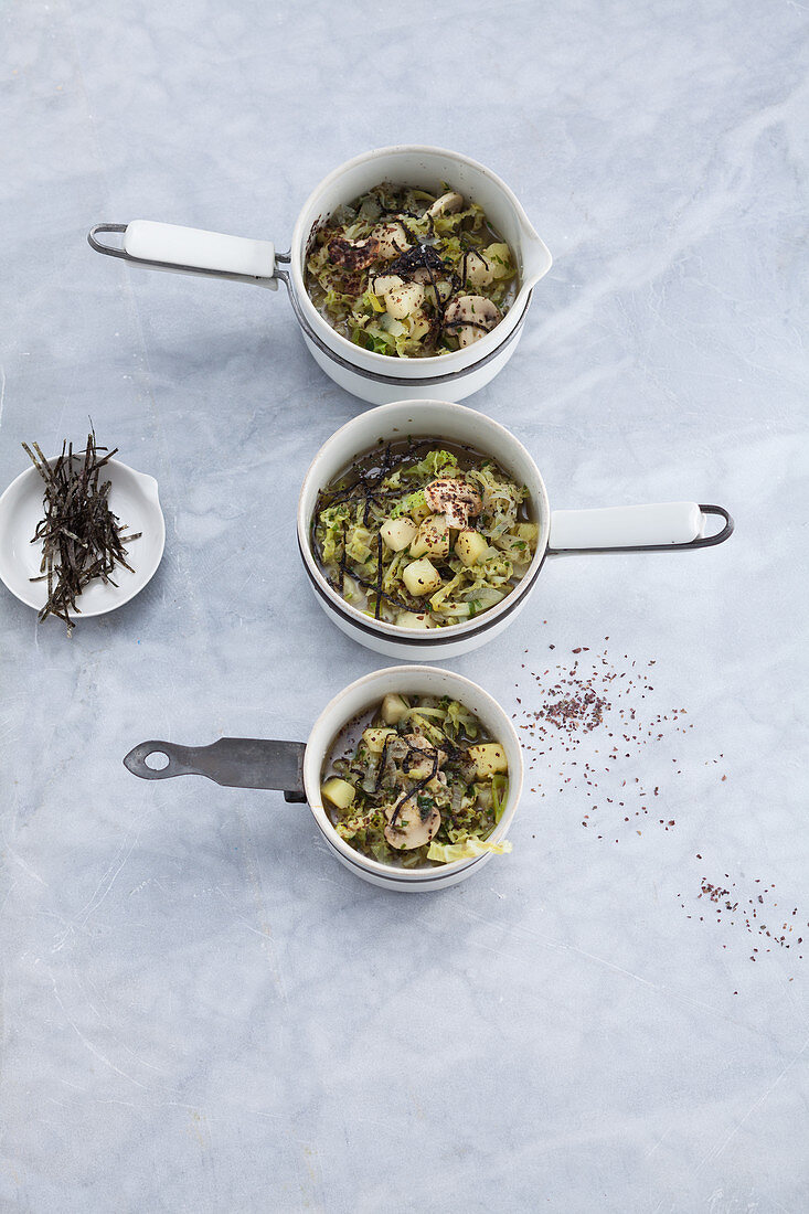 Irish algae cabbage stew with dulse and nori