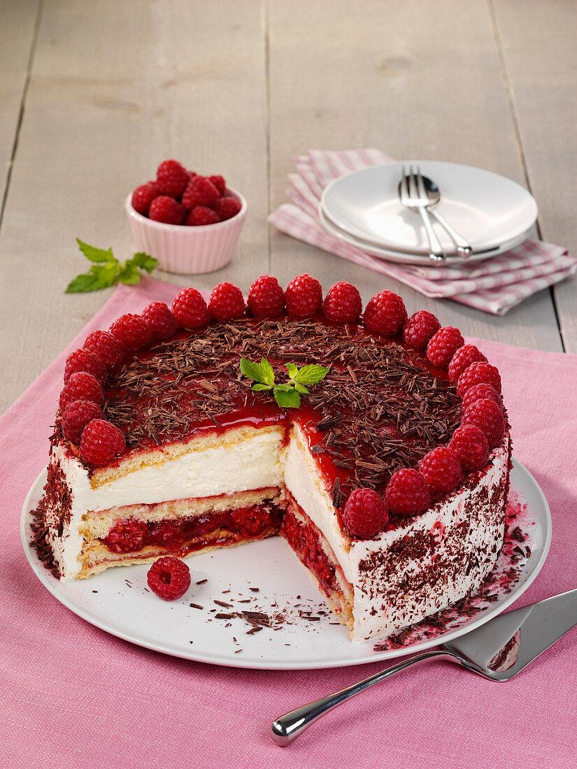 Raspberry and orange cake