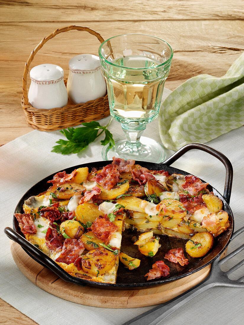 Grilled bacon frittata with mozzarella