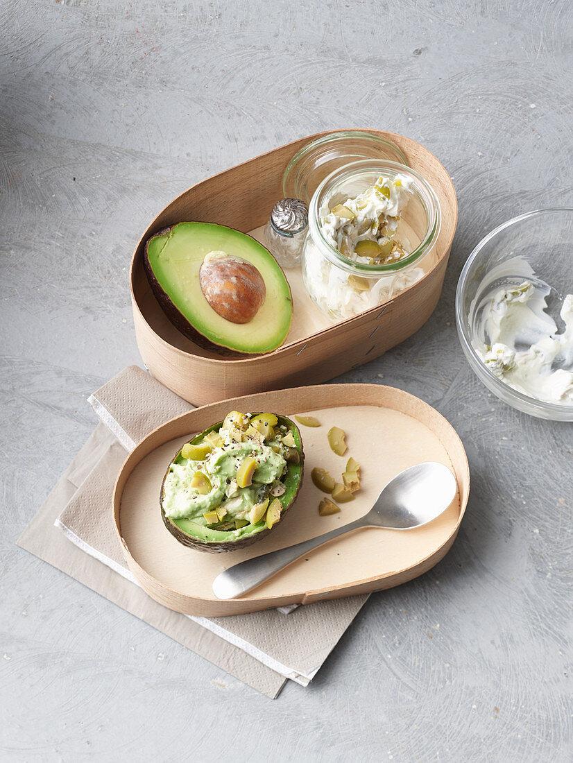 Avocado with olive cream