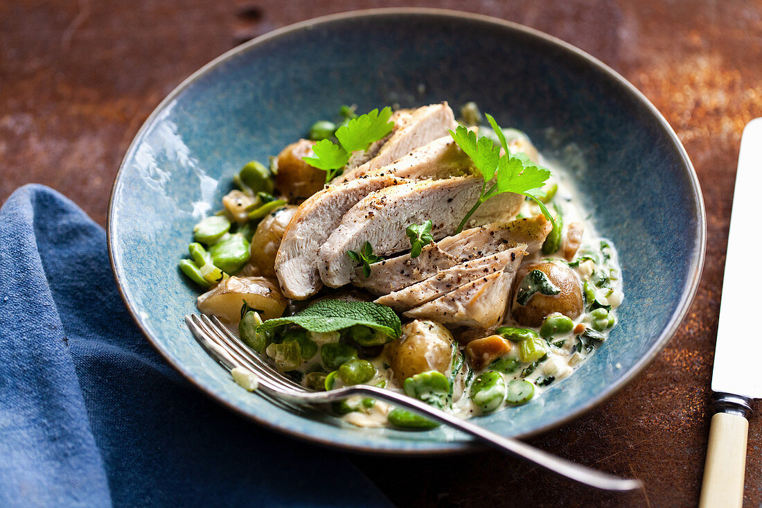 Chicken breast with new potatoes and fava beans in a creamy sauce