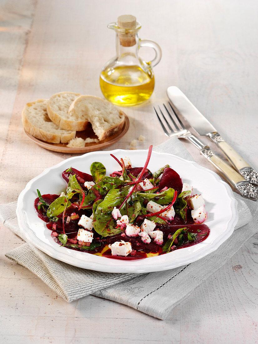 Greek beetroot salad with feta cheese