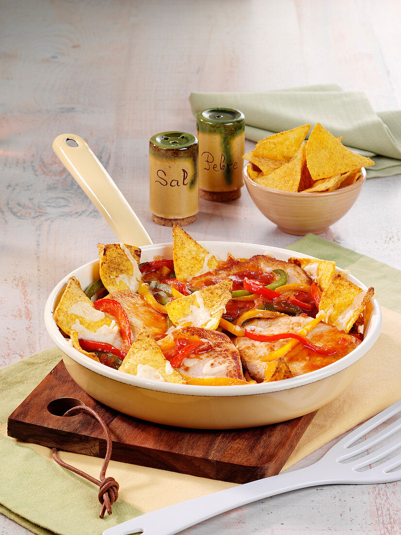 Gratinated taco escalopes
