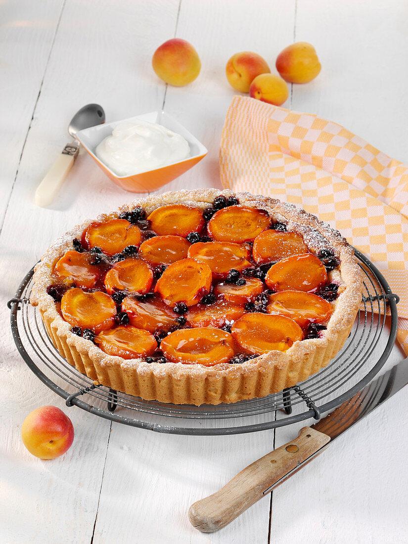 Aprikosen-Marzipan-Tarte mit schwarzen Johannisbeeren