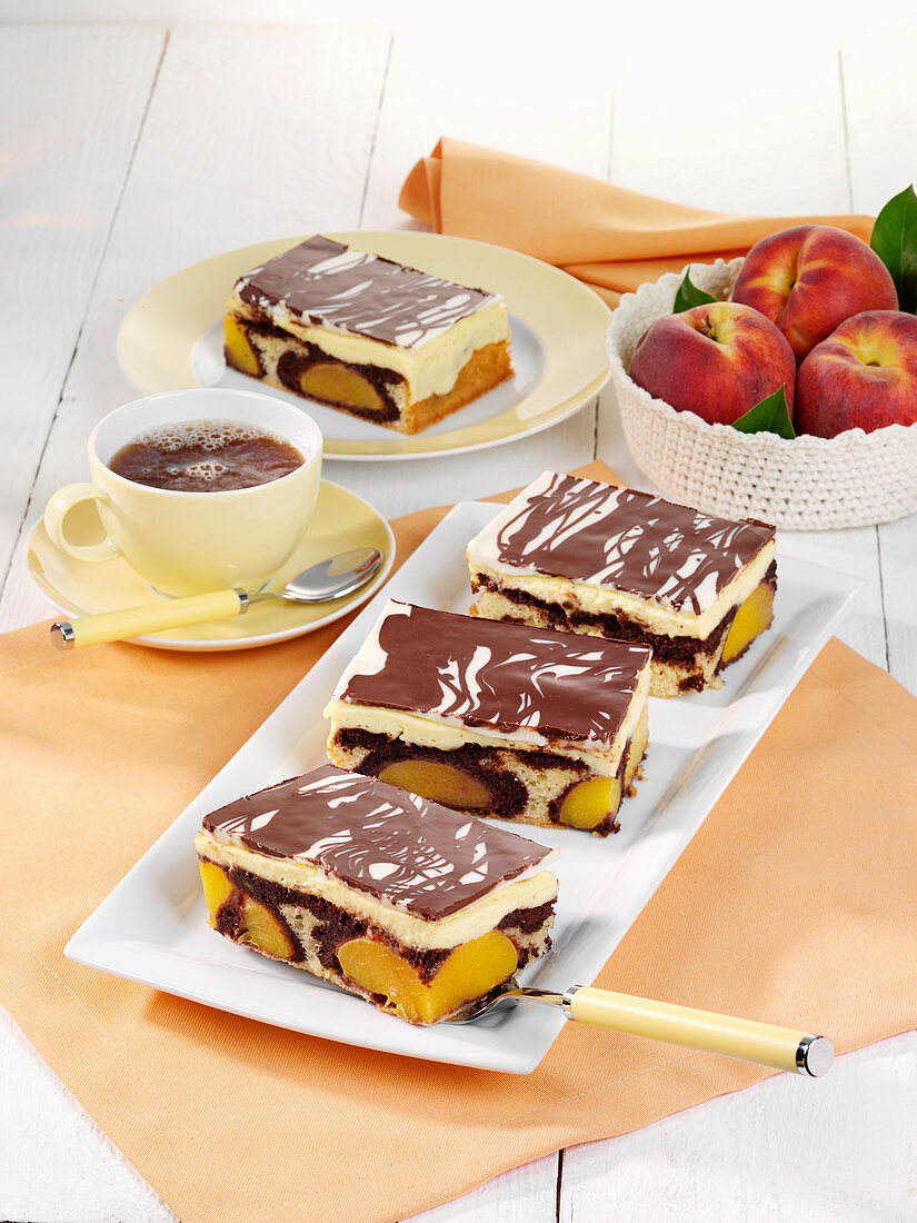 Peach Donauwelle (German marble cake)