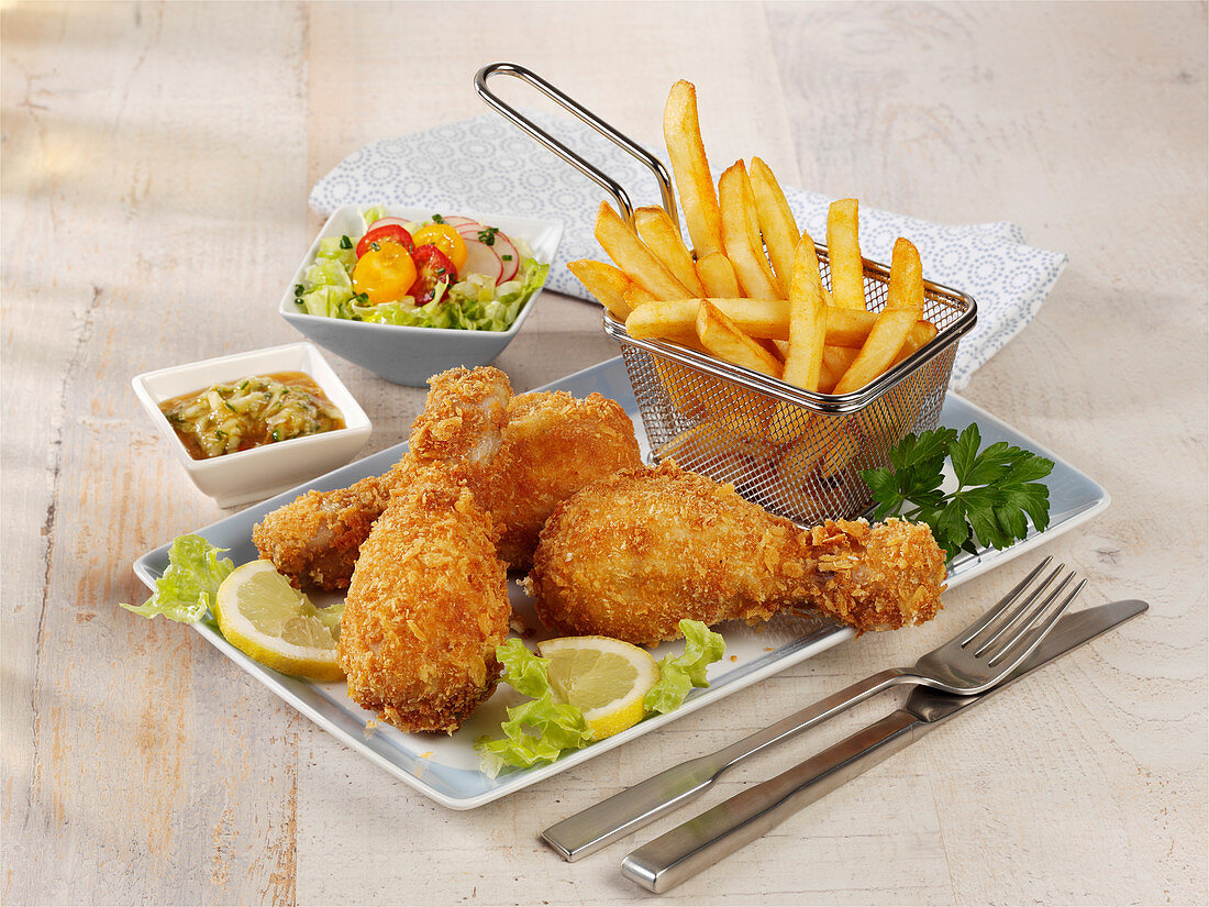 Baked chicken with chips