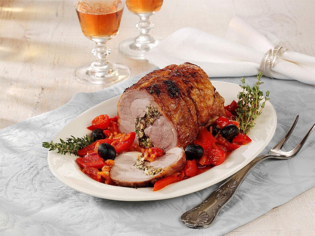 Italian turkey roulade with peperonata