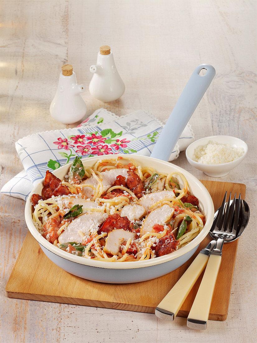 Schnelle Spaghetti mit Hähnchenbrust, Bacon und Spinat