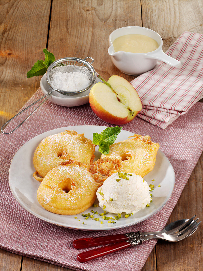 Apple fritters with sour cream ice cream