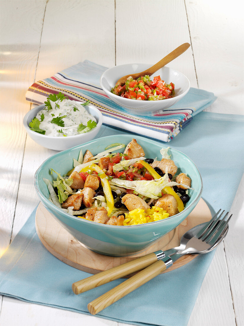Bean and chicken salad with rice