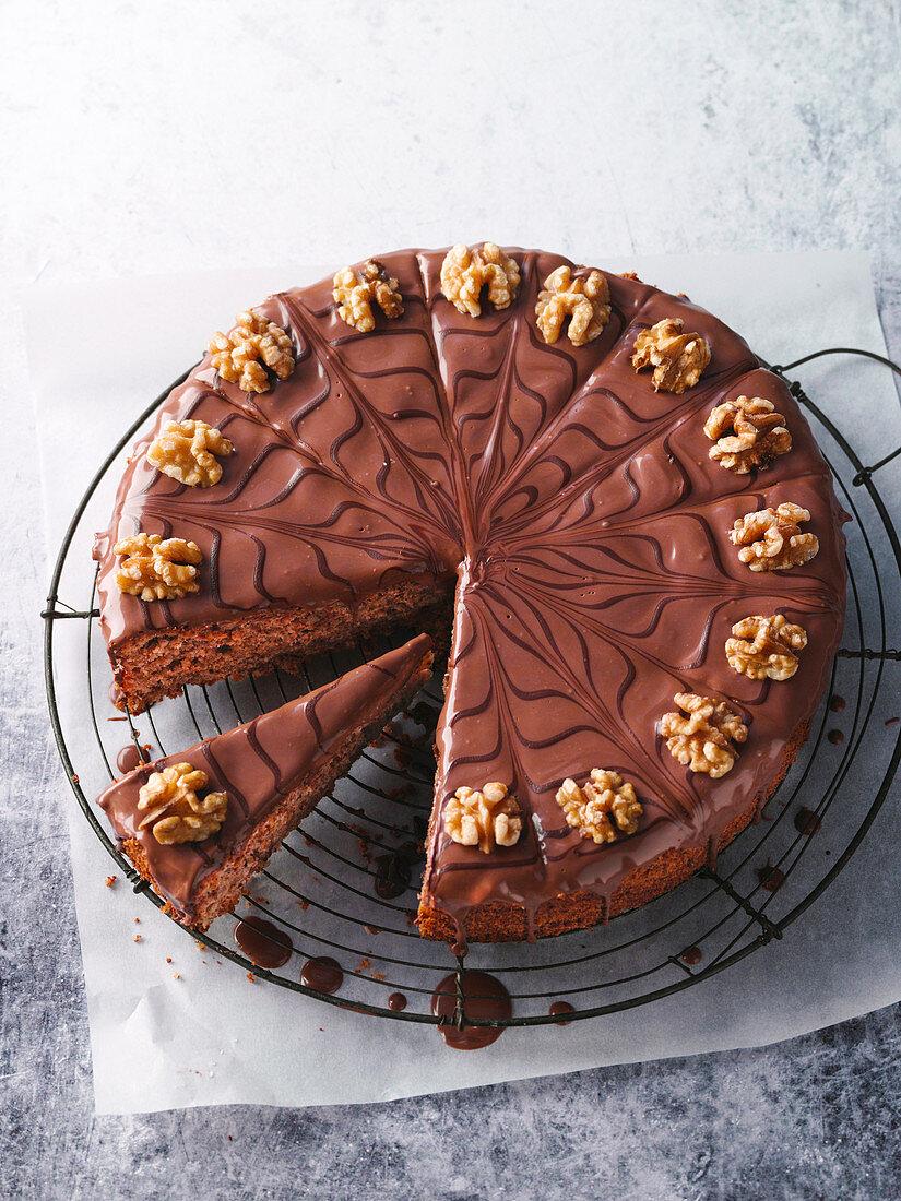 Baden walnut cake with chocolate glaze