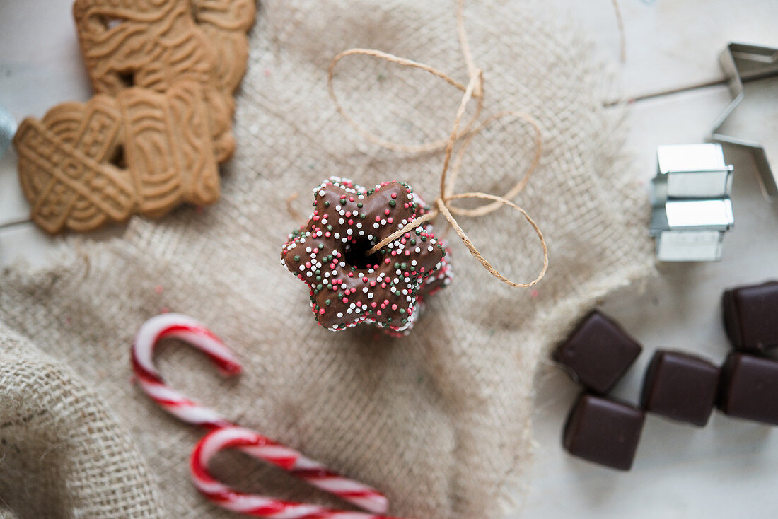 Lebkuchen stars, gingerbread biscuits and Dominosteine (chocolate covered sweets with marzipan and gingerbread)