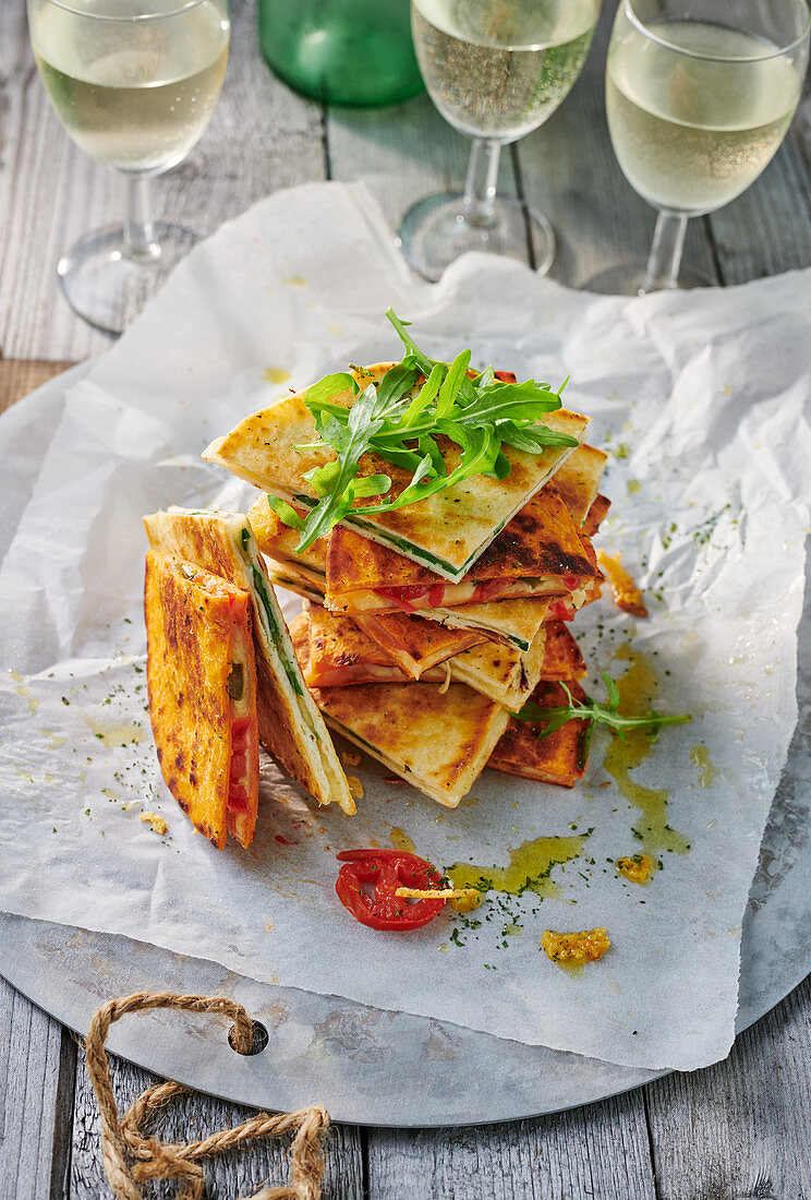 Tomato and rocket quesadillas