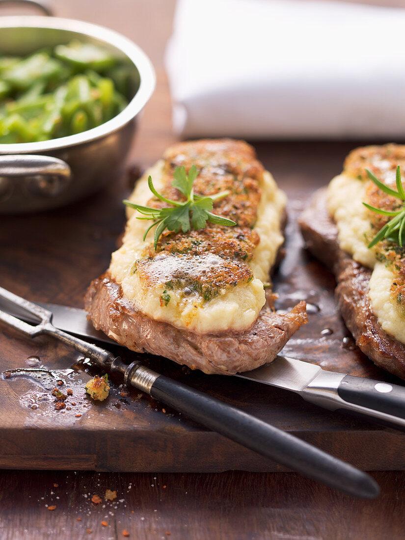 Roast beef with a celeriac crust
