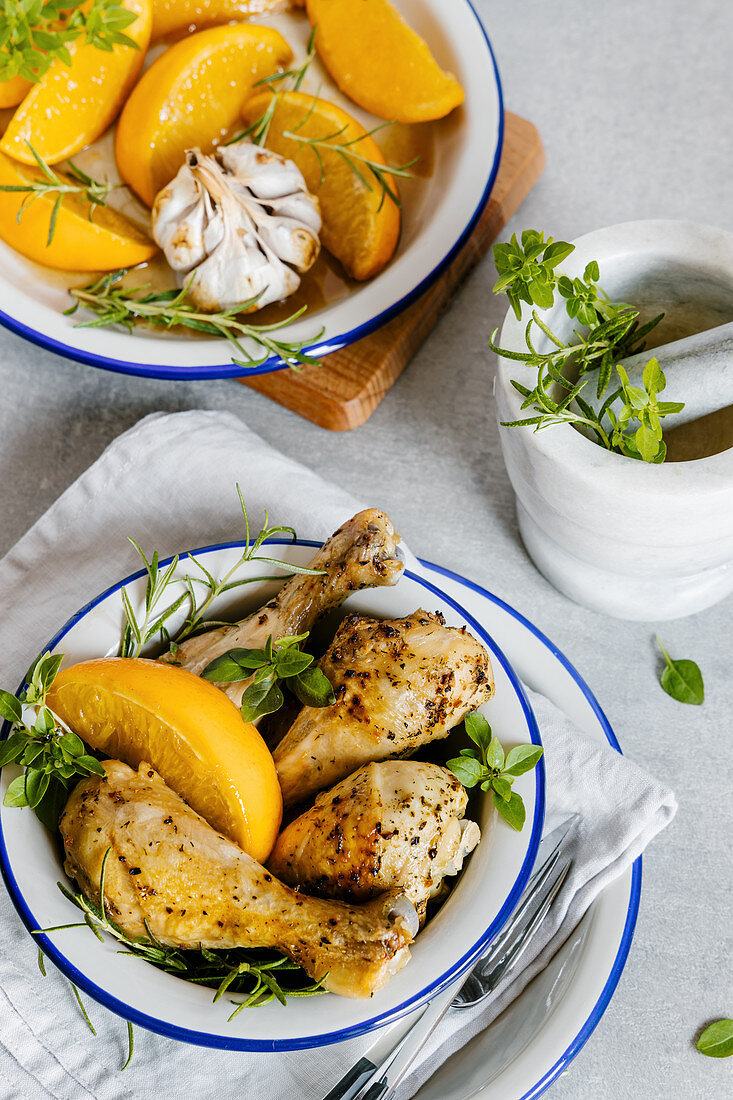Orange and garlic chicken legs