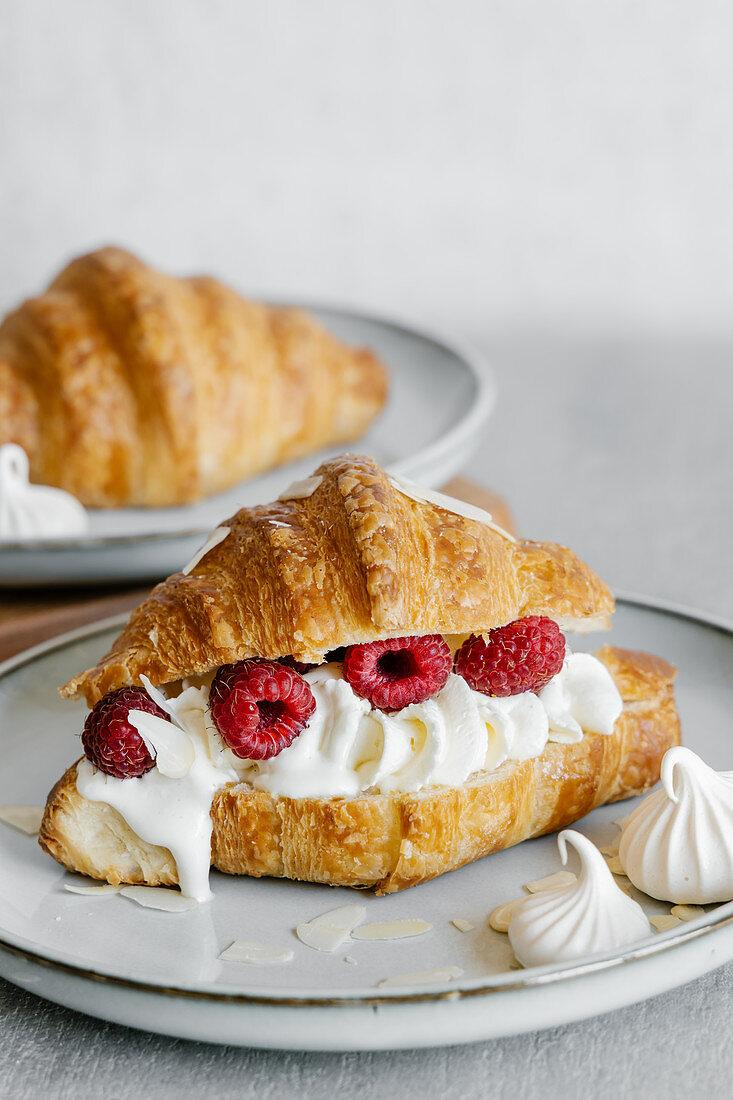 Vanilla cream and fresh raspberry croissant