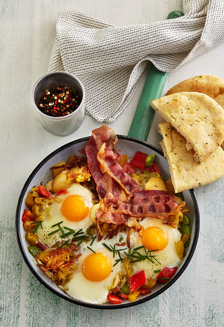 Pan with breakfast meal