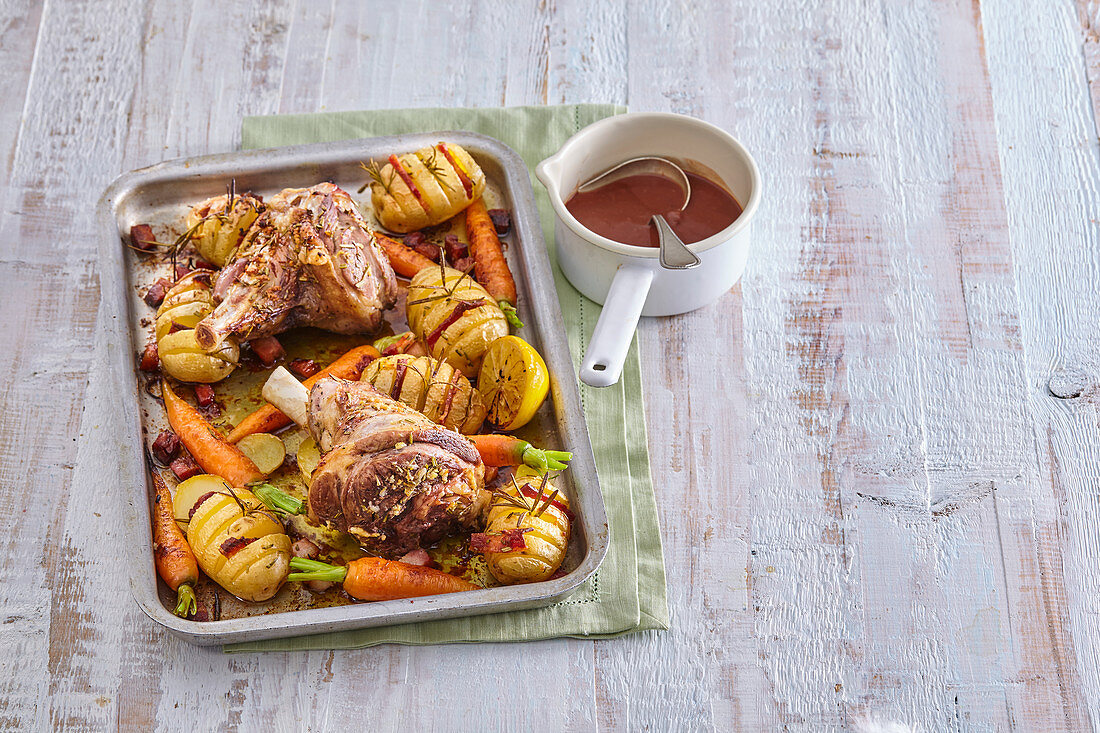 Roast lamb with Hasselback potatoes
