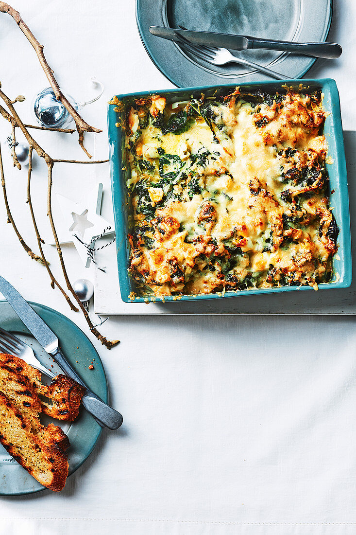 Edd gratin Florentine with silverbeet and eggs