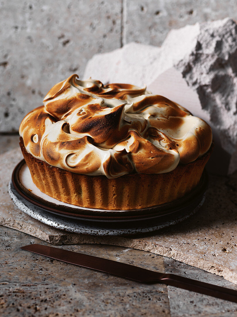 Florentine chocolate tart with coffee meringue
