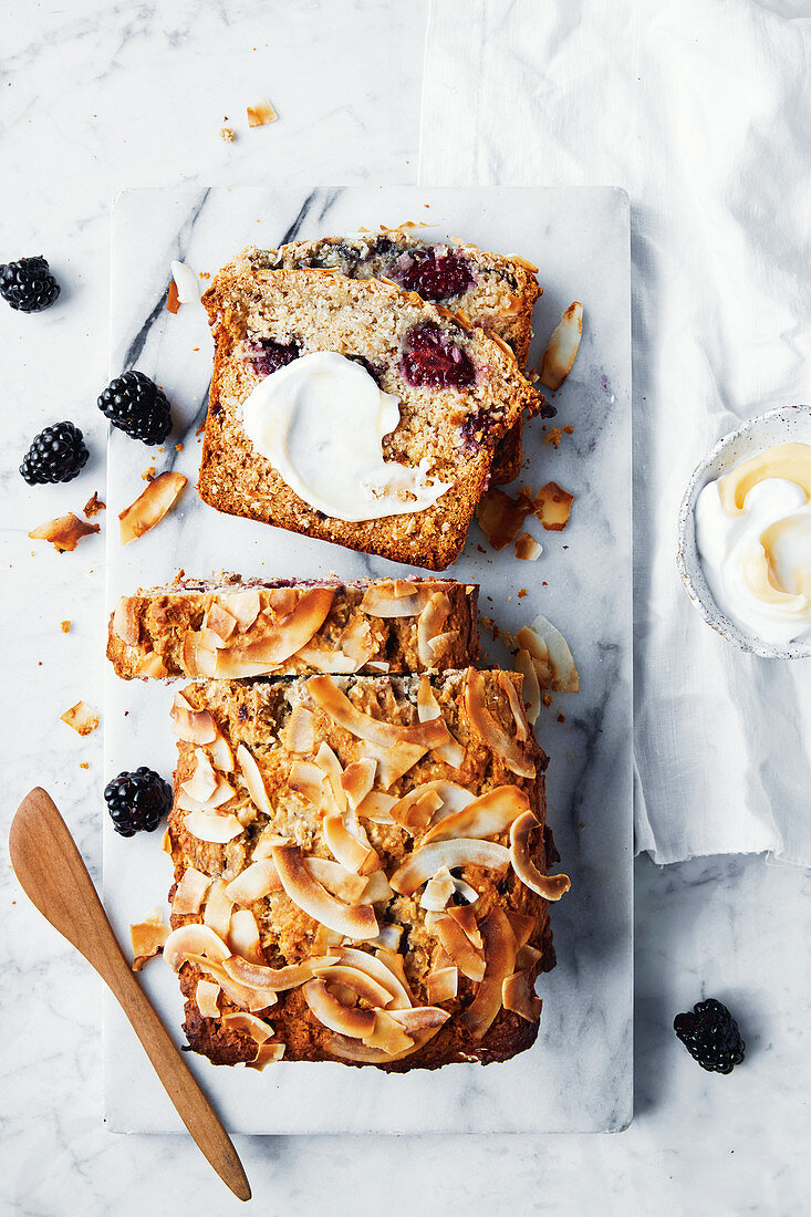 Toasted coconut, salted lemon and blackberry loaf