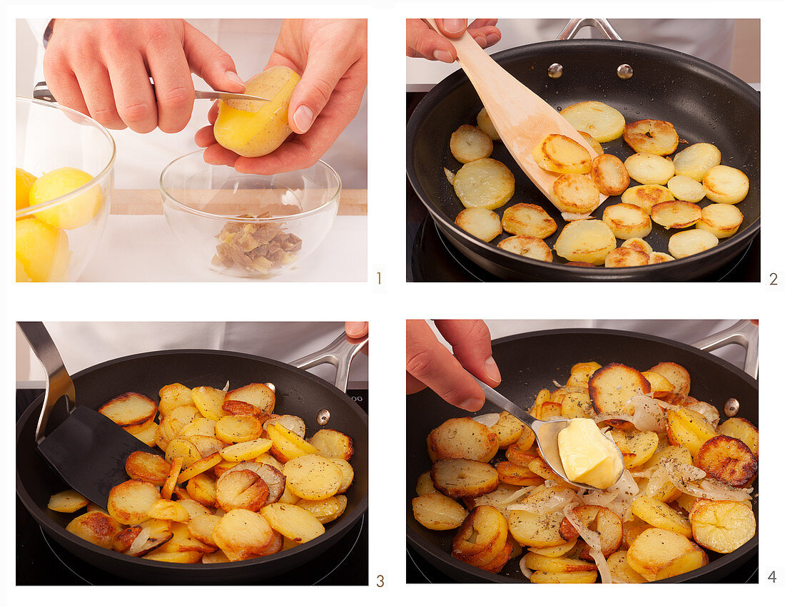 Fried potatoes being made