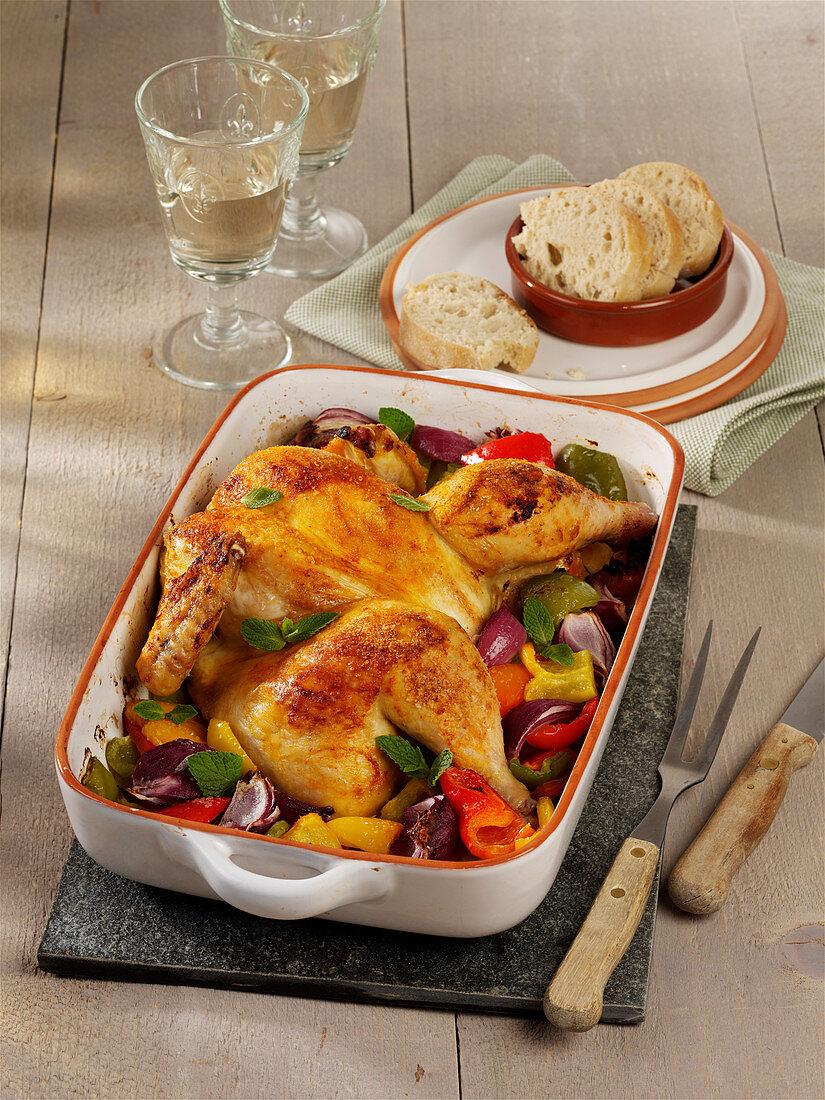 Harissa chicken with paprika vegetables