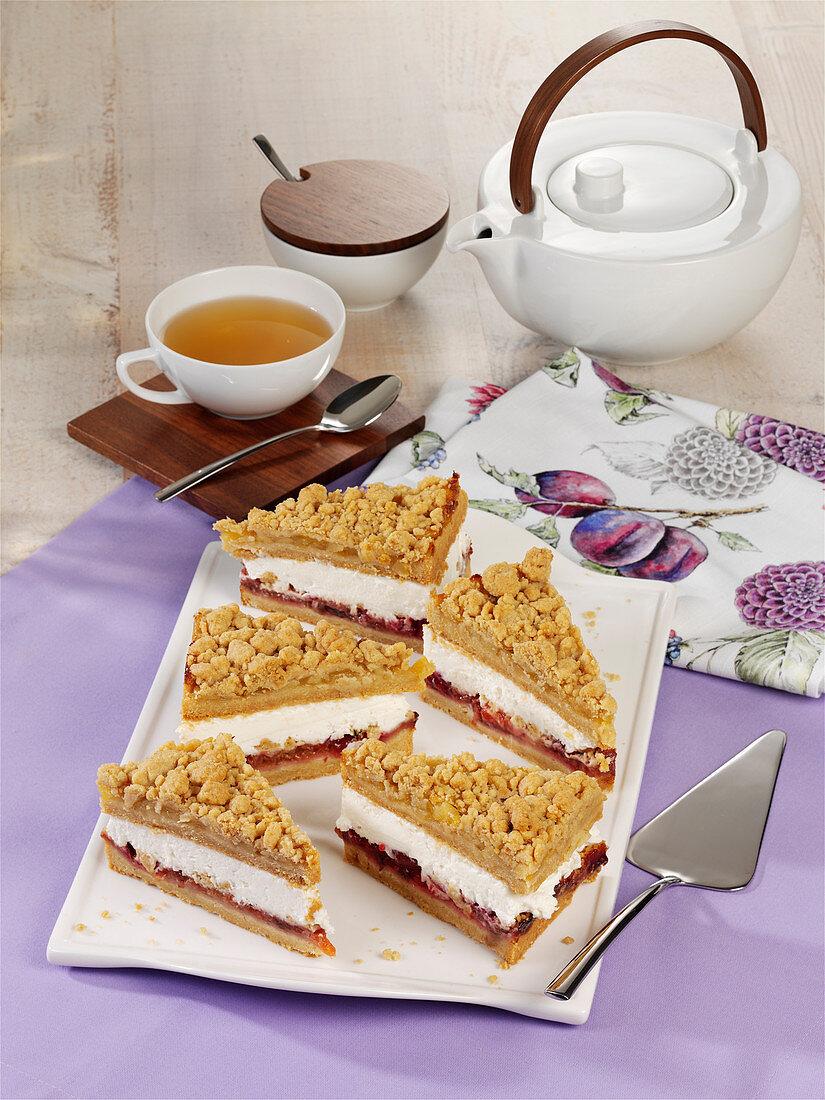 Apple and plum pretzel cake