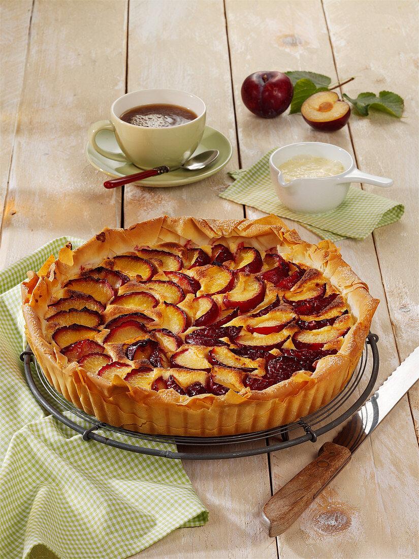 Plum filo pastry tart with quark cream