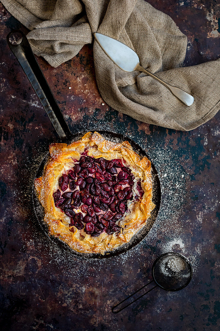 Phyllo pastry galette tart with ricotta, tahini and cherries