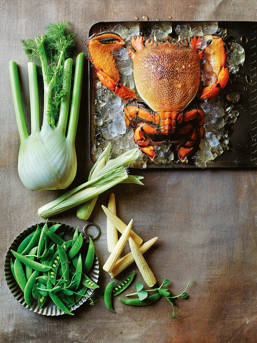 Fennel, baby corn, crab and peas