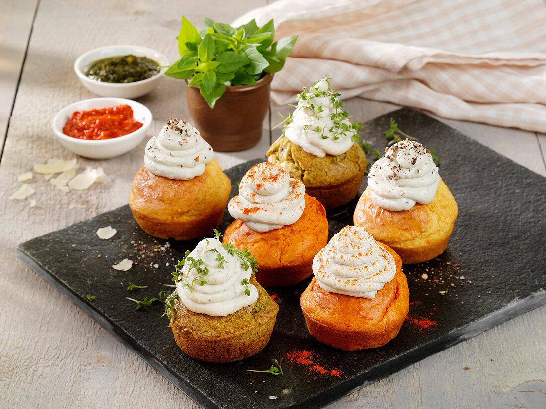 Polenta cupcakes with gorgonzola cream
