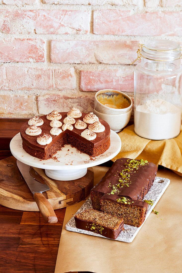 Buckwheat chocolate cake and zucchini nut cake (gluten-free)