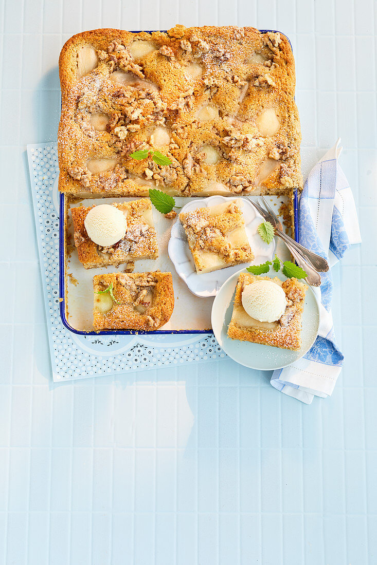 Pear and nut cake with walnut brittle