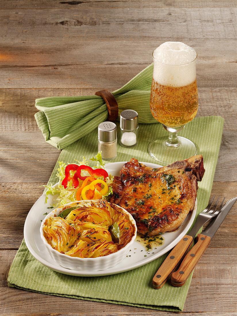 Pork chop with potato gratin
