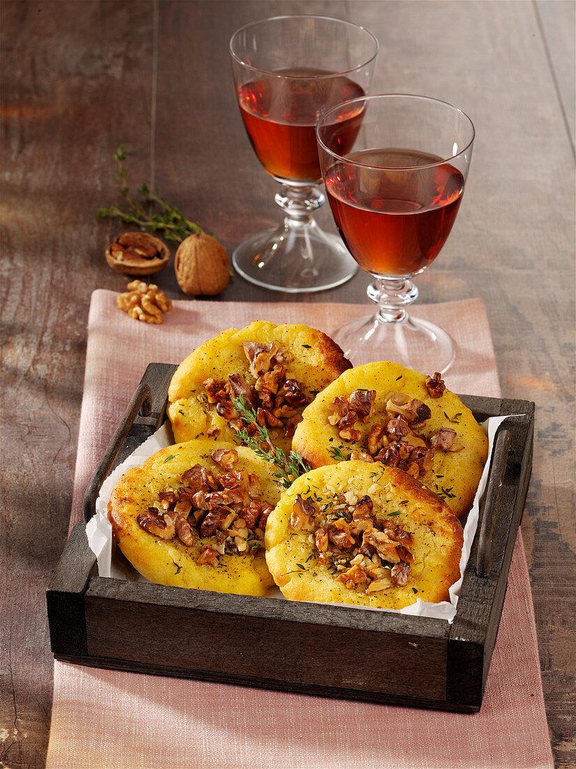 Potato cakes with walnuts