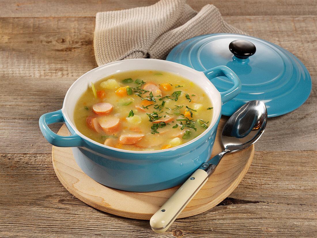 Potato soup with Vienna sausages