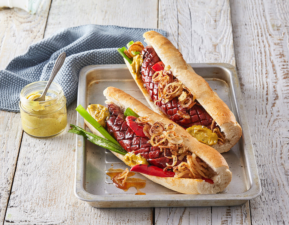 Baguette with curry mayonnaise