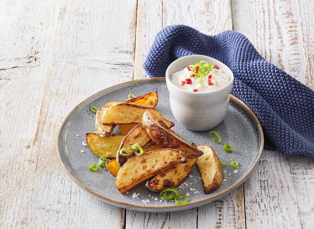 Baked potatoes with sauce tartare