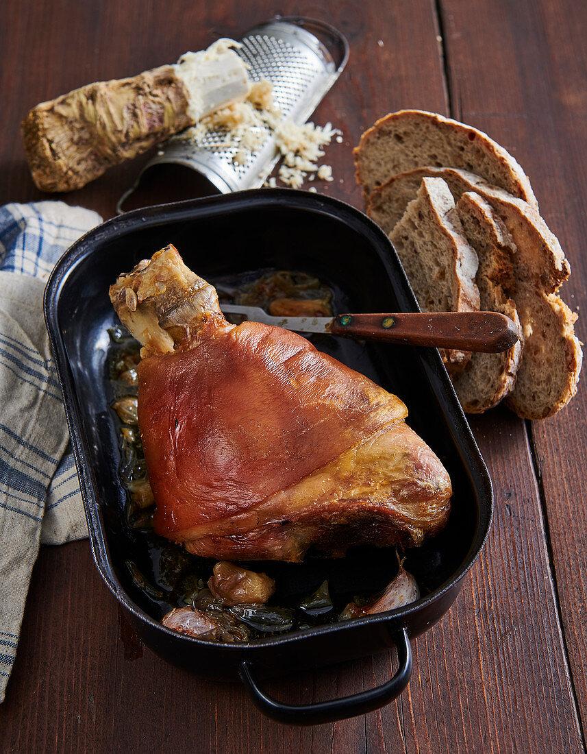 Beer roast pork knuckle